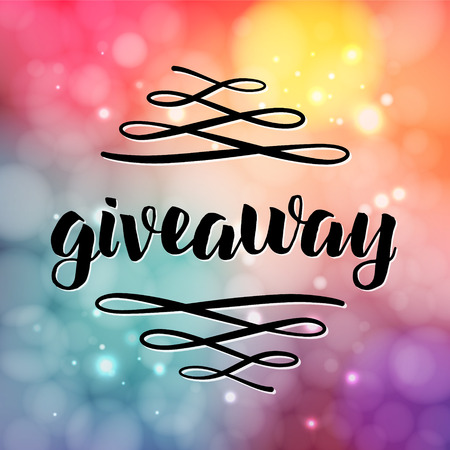 Giveaway lettering for promotion in social media with swashes on blurred background with lights. Free gift raffle, win a freebies. Vector advertising Illustration