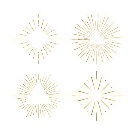 Tribal boho sunburst frames with place for your text. Gold sparkle hipster logo, Vector line firework shapes Illustration