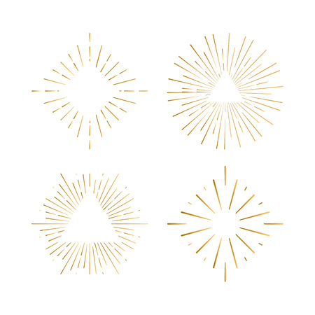Tribal boho sunburst frames with place for your text. Gold sparkle hipster logo, Vector line firework shapes Vettoriali