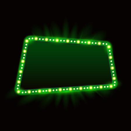 Retro Showtime Frame Design. Neon Lamps Advertising billboard on dark casino light element. Vector Cinema and theater Banner Light Bulbs for Sale flyers