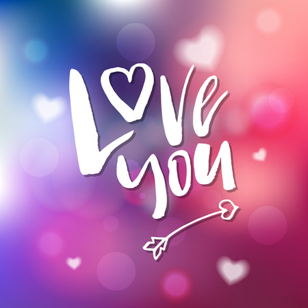 I Love You - Calligraphy for invitation, greeting card, prints, posters. Hand drawn typographic inscription, lettering design. Vector Happy Valentines day holidays quote.  イラスト・ベクター素材