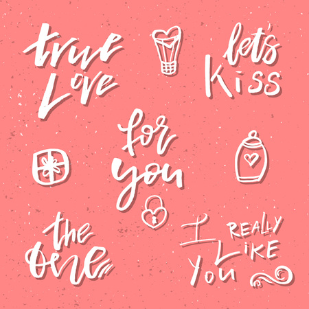 バレンタインの日ロマンチックな手描きアイコンとクリップアート。ご挨拶、ポスター、t シャツ、プリント、カード、バナー、ロゴに適しています
