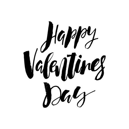 Happy Valentines day card with calligraphy text on white background. Template for Greetings, Congratulations, Housewarming posters, Invitation, Photo overlay. Vector illustration