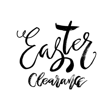 Special Easter clearance card with calligraphy text vector template for flyers, banners, advertise, marketing, promotion. Hand lettering design for Happy Easter holiday poster.