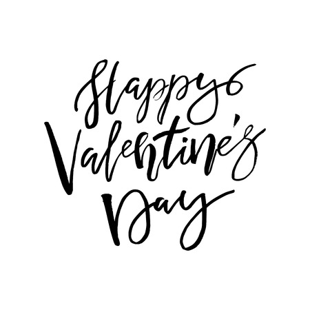 Happy Valentines day card with calligraphy text on white. Template for Greetings, Congratulations, Housewarming posters, Invitation, Photo overlay. Vector illustration Illustration