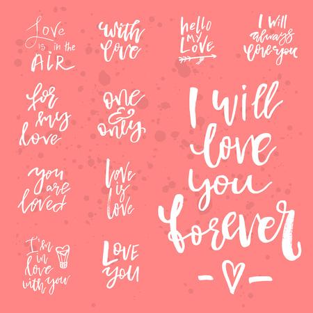 バレンタインデーのロマンチックな手書きの引用符やスローガンのセット。挨拶のための日付、結婚式の文房具、タイポグラフィポスターやアパレ