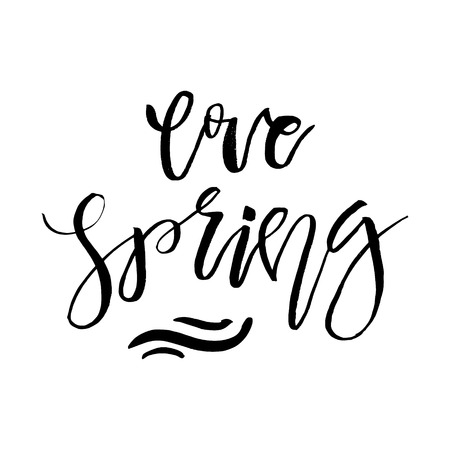 Love Spring - Hand drawn inspiration quote. Vector typography design element. Spring lettering poster. Good for t-shirts, prints, cards, banners. Illustration