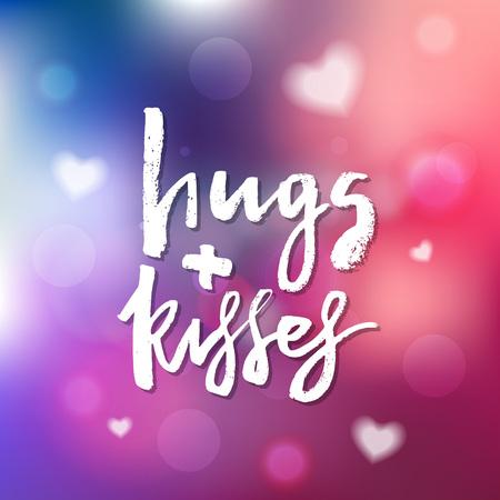 抱擁とキス - 招待状、グリーティングカード、プリント、ポスターのための書道。手描きのタイポグラフィ碑文、レタリングデザイン。ベクトルハ  イラスト・ベクター素材