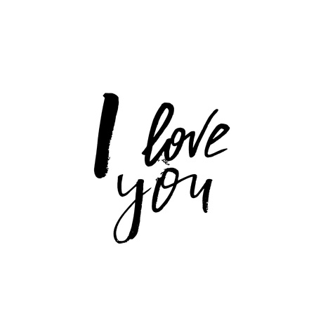 I Love You - Happy Valentines day card with calligraphy text on white. Template for Greetings, Congratulations, Housewarming posters, Invitation, Photo overlay. Vector illustration