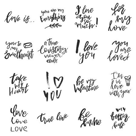 バレンタインデーのロマンチックな手書きの引用符やスローガンのセットは、白に隔離されています。挨拶のための日付、結婚式の文房具、タイポ