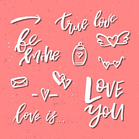 バレンタインデーロマンチックな手描きのアイコンとクリップアート。挨拶、ポスター、Tシャツ、プリント、カード、バナー、ロゴに適しています