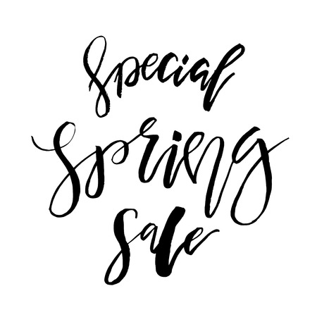 Special Spring Sale - Hand drawn inspiration quote. Vector typography design element. Spring lettering poster. Template for Flyers, banners, advertise, marketing, promotion.