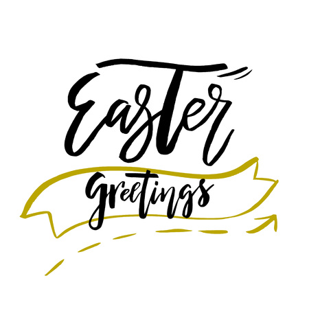Happy Easter Greetings card with calligraphy text. Vector Template for Congratulations, Prints, Invitations, Photo overlays. Hand lettering design for Holiday Poster Illustration