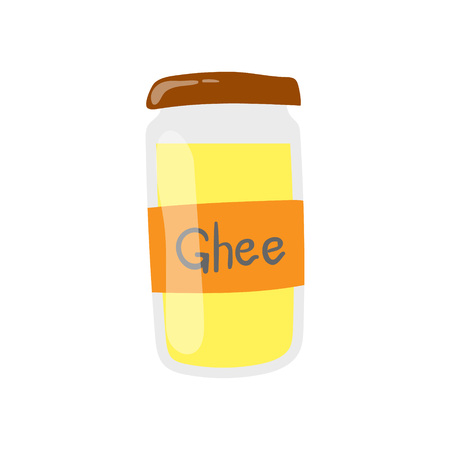 Ghee butter jar vector icon. Healthy eating cartoon illustration isolated on white background.