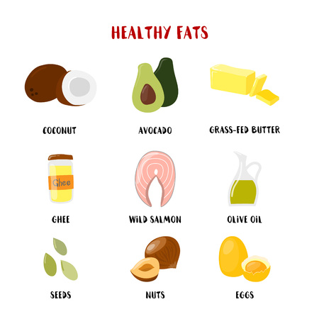 Food with Healthy fats and oils icons set isolated on white. Vector cartoon style illustration