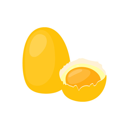 Chicken egg with broken half vector icon. Healthy eating cartoon illustration isolated on white background.
