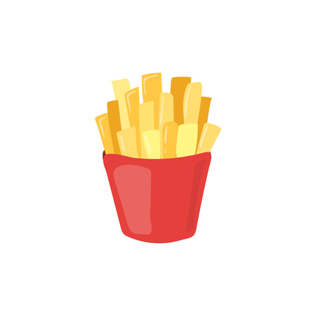 Fast Food french fries vector icon. Unhealthy eating potato cartoon illustration isolated on white background Çizim