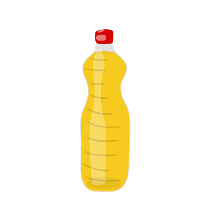 A Bottle of hydrogenated vegetable, canola or soy oil vector icon. Unhealthy eating cartoon illustration isolated on white background