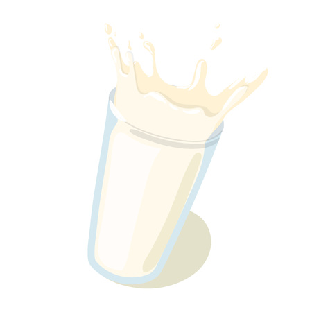 Realistic Milk Drop with Splashes in a glass vector icon. Healthy eating cartoon illustration isolated