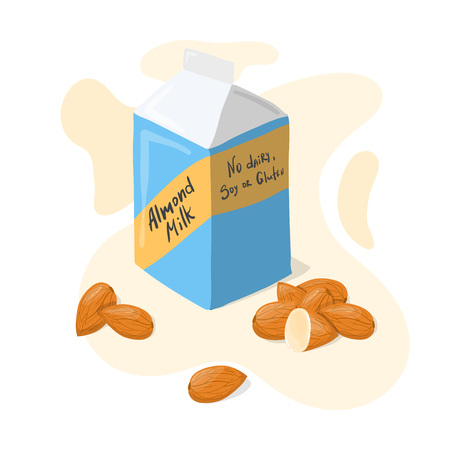 Homemade Almond Milk tetra pack with whole almonds vector poster. Healthy eating typography lettering cartoon illustration isolated on white background