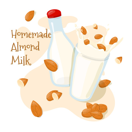 Homemade Almond Milk in a bottle and  Splash with whole almonds in a glass vector icon. Healthy eating cartoon illustration isolated on white background Иллюстрация
