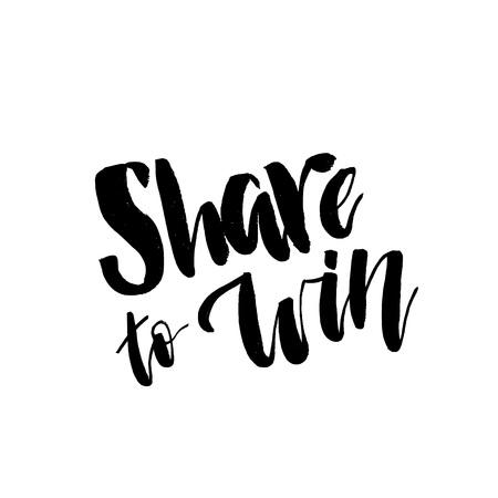 Compartir para ganar, texto de letras de sorteo. Tipografía para promoción en redes sociales aislada sobre fondo blanco. Sorteo de obsequios gratis, gane regalos. Publicidad vectorial.