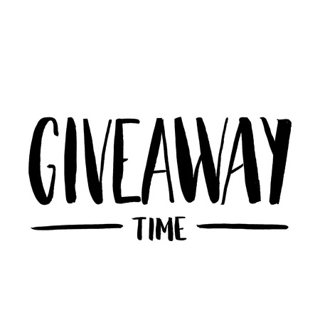 It's Giveaway Time Lettering text. Typography for promotion in social media isolated on white background. Free gift raffle, win a freebies. Vector advertising. Vectores
