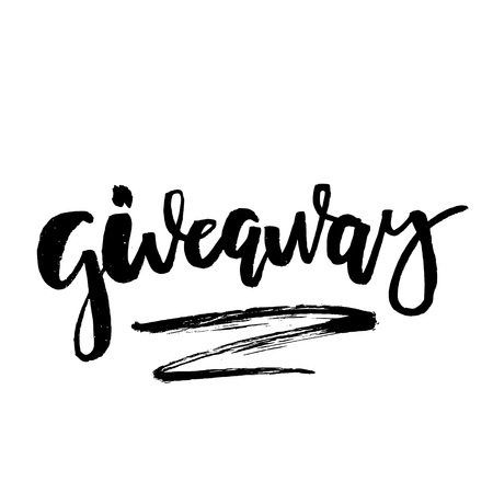 It's Giveaway Lettering text. Typography for promotion in social media isolated on white background. Free gift raffle, win a freebies. Vector advertising. Vectores