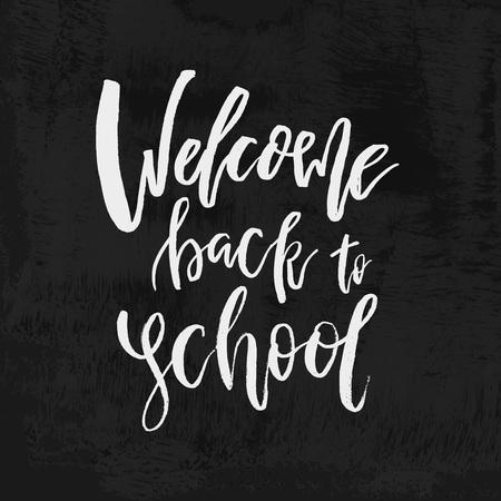 Welcome Back to School chalk lettering on blackboard. Vintage Calligraphic Design Label On Chalkboard. Vector