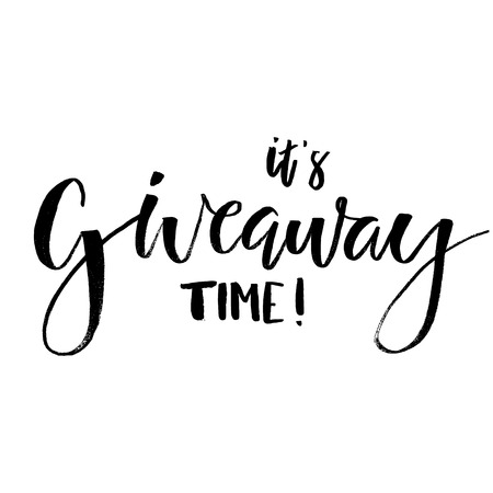 Its Giveaway Time Lettering text. Typography for promotion in social media isolated on white background. Free gift raffle, win a freebies. Vector advertising.