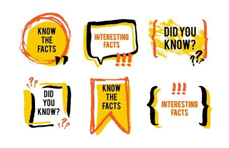 Interesting facts speech bubble icon. Fun fact idea label. Banner for business, marketing and advertising. Funny question sign for logo. Vector design element with hand brush strokes isolated on white Reklamní fotografie - 133190228