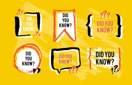 Did you know the facts speech bubble icons. Fun fact idea label. Banner for business, marketing and advertising. Funny question sign for logo. Vector design element with hand brush strokes.