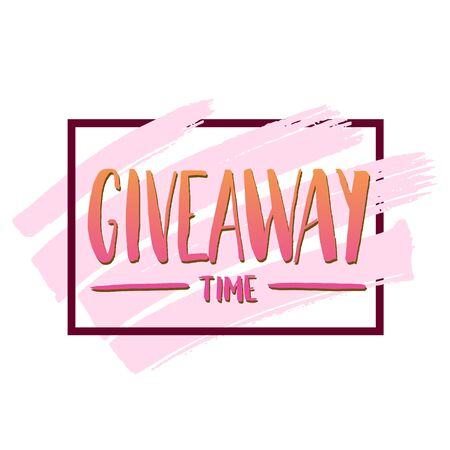 It's Giveaway time modern poster template design for social media post or website banner with brush strokes. Free gift raffle, win prize and freebies. Vector illustration