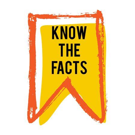 Conozca el icono de bandera de color de hechos. Etiqueta de idea de hecho divertido. Banner para negocios, marketing y publicidad. Signo de pregunta divertido para el logo. Elemento de diseño vectorial con trazos de pincel de mano aislado en blanco.