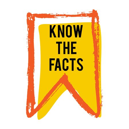 Kennen Sie das Farbflaggensymbol der Fakten. Lustiges Fakten-Ideen-Etikett. Banner für Business, Marketing und Werbung. Lustiges Fragezeichen für Logo. Vektorgestaltungselement mit Handbürstenanschlägen lokalisiert auf Weiß.