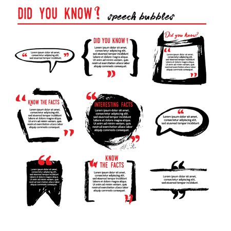 Did you know speech bubble icons. Fun fact idea label. Banner for business, marketing and advertising. Funny question sign for logo. Vector design element with hand brush strokes isolated on white. Ilustração