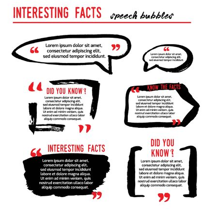 Interesting facts speech bubble icons. Fun fact idea label. Banner for business, marketing and advertising. Funny question logo sign. Vector design element with hand brush strokes isolated on white.
