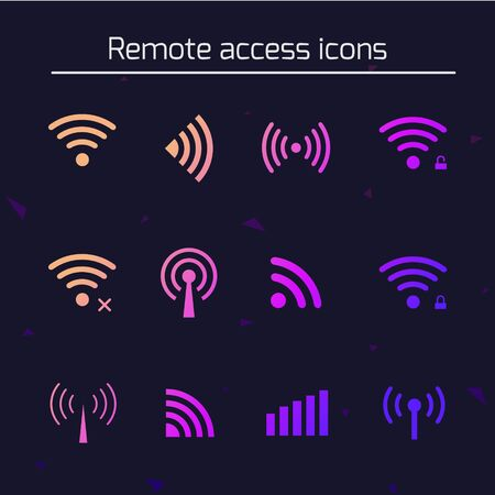 Set of different futuristic wireless and wifi icons for remote access and communication via radio waves. vector illustration for your design