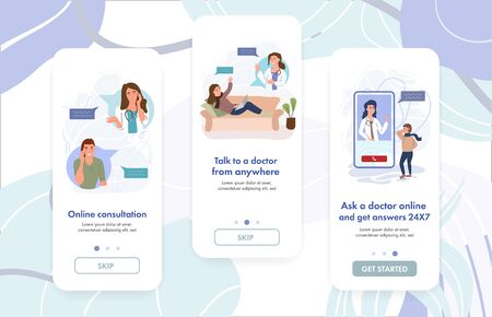 Female doctor giving online consultation to patient. Virtual GP Doctor Diagnosis. VR Medicine. Digital healthcare. Website banner template. Vector cartoon illustration.Virtual clinic app concept