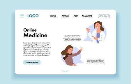 Female doctor giving online consultation to patient. Virtual Doctor Consultation and Diagnosis. VR Medicine. Digital healthcare. Website banner template. Vector cartoon design illustration. Çizim