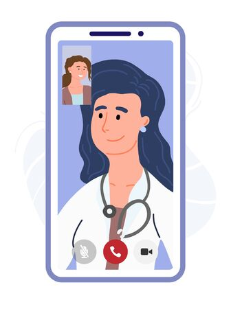 Sick patient talking by video call with a doctor. Online medicine in the phone. VR consultation. Online Diagnosis, Virtual chat with doctor. Digital healthcare. Design banner template. Vector cartoon