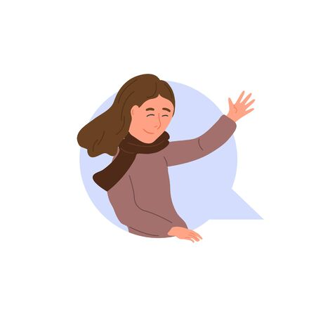 Smiling girl waving her hand in dialog cloud. Chatting woman online. Vector textbox icon, chat bubble with happy cartoon character. Virtual talk concept