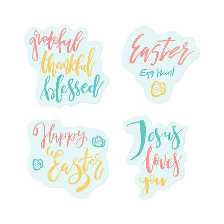 Grateful Thankful Blessed - Inspirational  Happy Ester holiday lettering quote for posters, t-shirt, prints, cards, banners. Christian god religious saying. Typographic vector slogan illustration