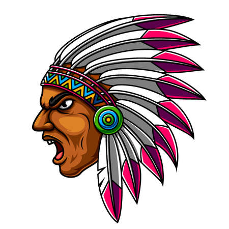 Apache Indian Man Head Mascot Logo of illustration Logo