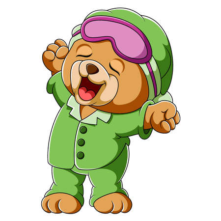 Baby bear waking up yawning and stretching of illustration Illusztráció