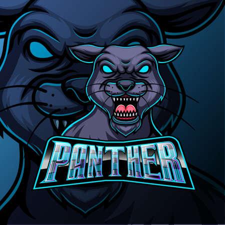 Panther mascot sports e sport logo design of illustration