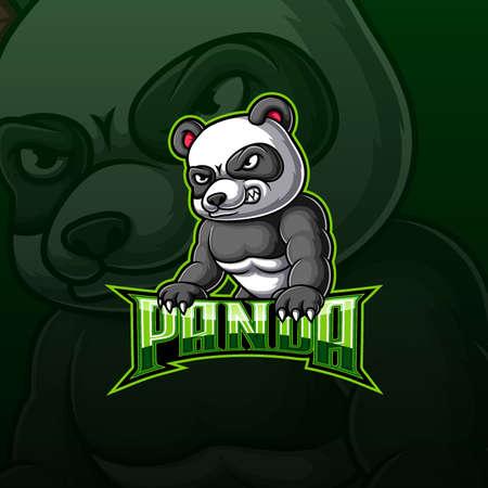 Angry strong panda mascot e sport logo design of illustration