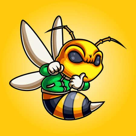 Bee mascot wearing green jacket of illustration