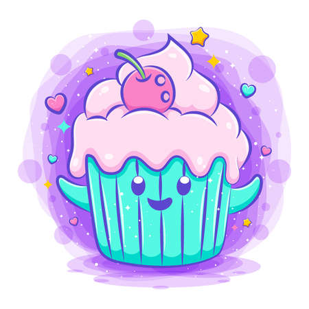 Smiling cute kawaii cartoon of cupcake character