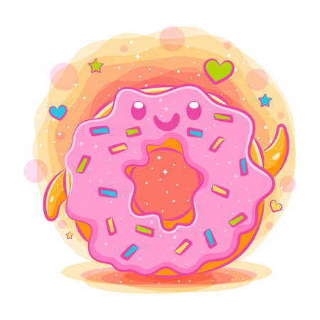 Donuts cute kawaii cartoon of illustration